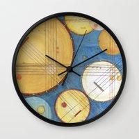 kandinsky Wall Clocks featuring doodling banjos by Beth Jorgensen