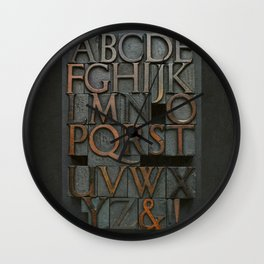 Vintage Letter Press Alphabet Wall Clock