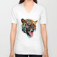 animals V-neck T-shirts featuring FEROCIOUS TIGER by dzeri29