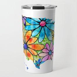 Flower Floral Bright Colorful Art - USA Map 33 - Sharon Cummings Travel Mug