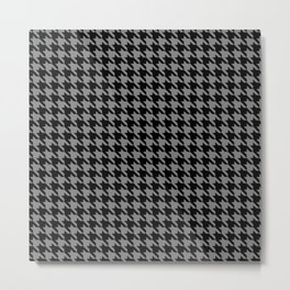 Black and Grey Classic houndstooth pattern Metal Print