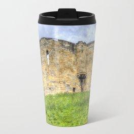 York Castle And Daffodils Travel Mug