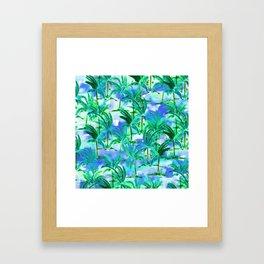 Palm Tree Blue Green Framed Art Print