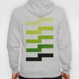 Minimalist Mid Century Modern Sap Green Watercolor Painting Lightning Bolt Zig Zag Pattern With Blac Hoody