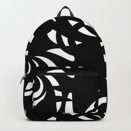 Monochrome pattern of white doodle and curls in floral ornament in ethnic style on a black backgroun Backpack