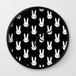 Bunny Rabbit black and white spring cute character illustration nursery kids minimal floral crown Wall Clock