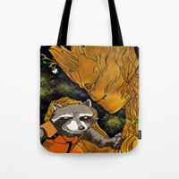 superheros Tote Bags featuring We are Groot by Tiffany Saffle