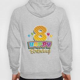 Kids Happy 8th Birthday Kids Bday Party Hoody