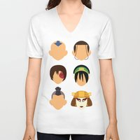 aang V-neck T-shirts featuring Team Avatar by Adrian Mentus