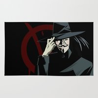 vendetta Area & Throw Rugs featuring V for Vendetta (e1) by Ezgi Kaya