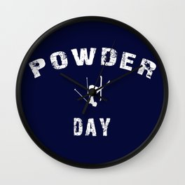 Powder Day Navy Blue Wall Clock