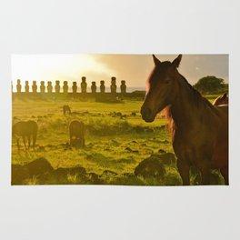 Sunrise with wild horses Rug
