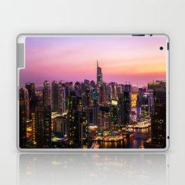 Skyline Jumeirah Lake Towers, Dubai, United Arab Emirates at Dusk Laptop & iPad Skin