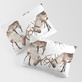 Playing Reindeers In Snow In Tromsø | North Of Norway Photo | Travel Photography Art Print Pillow Sham