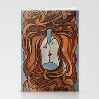 lesbian Stationery Cards featuring Lesbian Kiss (Art Nouveau Style)  by taiche