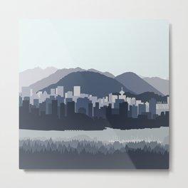 Vancouver Skyline in Blues Metal Print