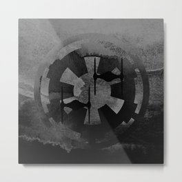 Galactic Empire Tie Fighters on Gray Metal Print