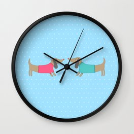 Cute dogs in love with dots in blue background Wall Clock
