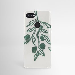 Olive engraving, green poster Android Case
