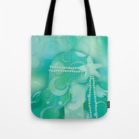 mermaid Tote Bags featuring Ocean Queen by Graphic Tabby