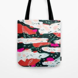 Spotted Abstract in Hot Red-Pink Tote Bag