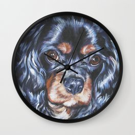 Beautiful black and tan Cavalier King Charles Spaniel Dog Painting by L.A.Shepard Wall Clock