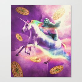 Space Sloth Riding On Flying Unicorn With Pizza Canvas Print