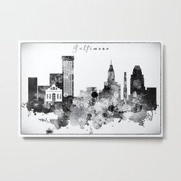 Black And White Baltimore City Skyline Metal Print