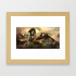 The Little Mermaid and the cosmonaut  Framed Art Print