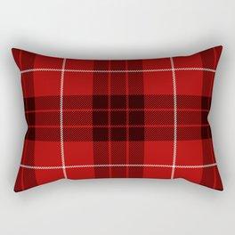 Dark Red Tartan with Black and White Stripes Rectangular Pillow