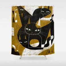 ABSTRACT WITH FIVE CATS Shower Curtain