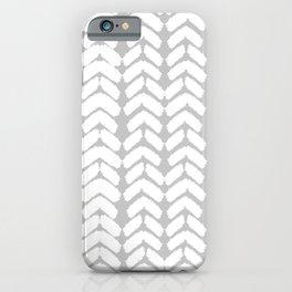 Hand-Drawn Herringbone (White & Gray Pattern) iPhone Case