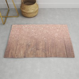 Modern faux rose gold glitter ombre brown rustic wood color block Rug