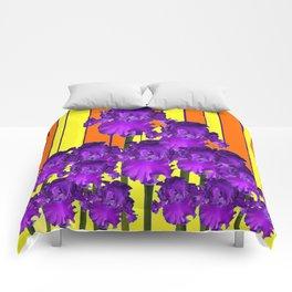 Decorative Contemporary Purple Yellow Iris Orange Garden Art Comforters