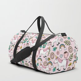 Pink Unicorn, Sweet Pink, Donuts and Frappuccino, Cute Emoji Print for Girls, Tween Decor Duffle Bag