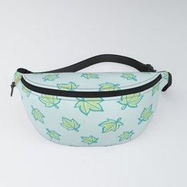 Aqua and Green Star Leaf Pattern Fanny Pack