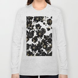 Modern Elegant Black White and Gold Floral Pattern Long Sleeve T-shirt
