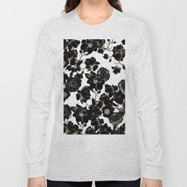 Modern Elegant Black White and Gold Floral Pattern Long Sleeve T-shirt