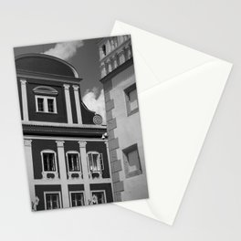 Black and White European Buildings Stationery Cards