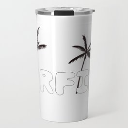 Surfing Bubble Letter Design with Palm Trees Travel Mug