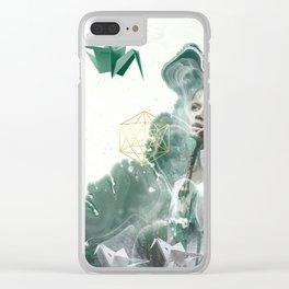 Emerald Paper Cranes Clear iPhone Case