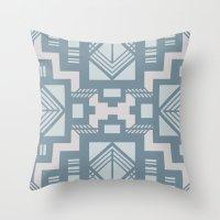 gatsby Throw Pillows featuring gatsby blue by Kozza