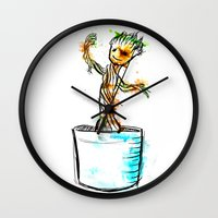 groot Wall Clocks featuring Watercolour Groot by Curious Nonsense.