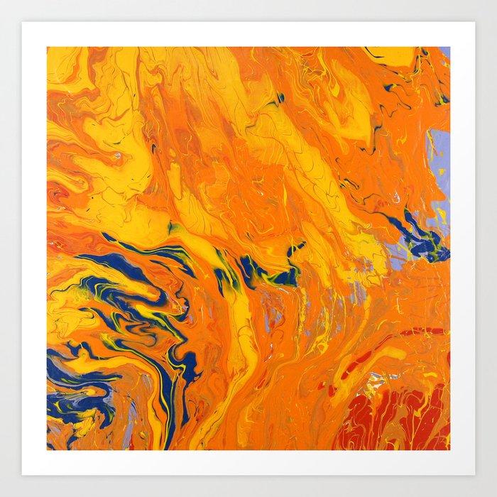 Orange Marble Art Print