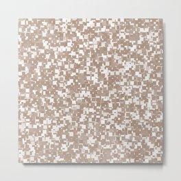 Warm Taupe Pixels Metal Print