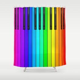 Rainbow Piano Keyboard  Shower Curtain