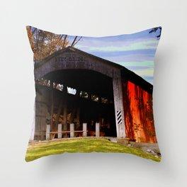 Neet Covered Bridge ~ Rockville, Indiana Throw Pillow