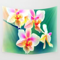 orchid Wall Tapestries featuring orchid by haroulita