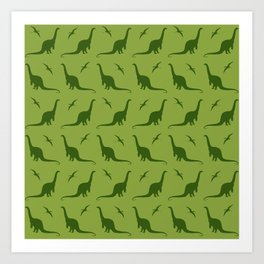 Brontosaurus and Pterodactyls on Green Art Print
