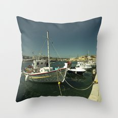 Hersonissos Harbour Throw Pillow